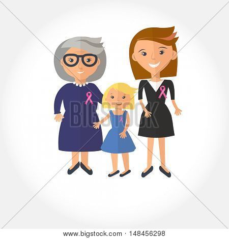 Stock vector illustration of a womans from one family with pink ribbon. Awareness of breast cancer. Mother, grandmother and dauther portrait with breast cancer silk pink ribbon