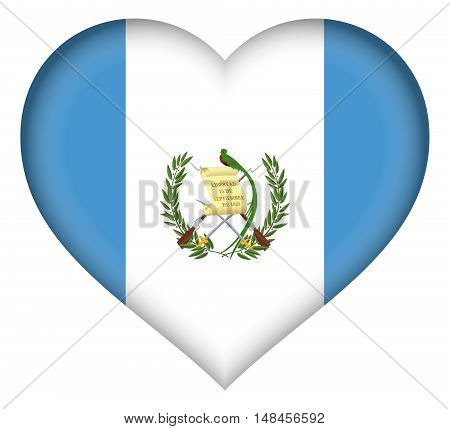 Illustration of the flag of Guatemala Shaped like a heart