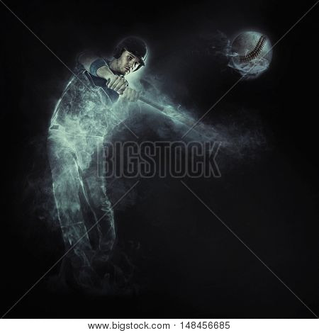 Baseball from smoke on the dark background