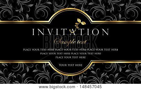 Invitation card design - luxury black and gold retro style