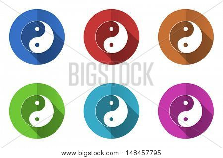 Flat design ying yang vector icon. Eps 10 web colorful buttons.