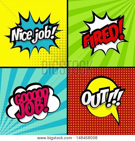 Set comic work sound vector effects pop art style. Sound bubble speech word comic cartoon expression sounds illustration. Lettering good job, fired, out. Comics book background template.