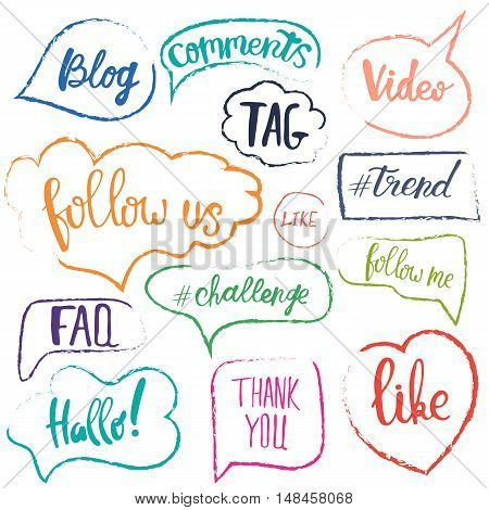 Vector speech bubbles with phrases Blog, Tag, like, trend, challenge, faq. Hand drawn speech bubbles, blog label in grunge style with hashtag. Follow us, follow me.