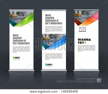 Vector set of modern roll up banner stand design with blue green red triangles, arrow, ribbon with overlap effect for business with construction and industrial concept. Corporate vector vertical flyer.