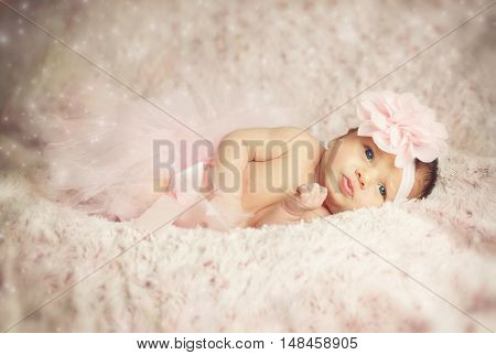 Newborn Baby Girl With Pink Tutu.