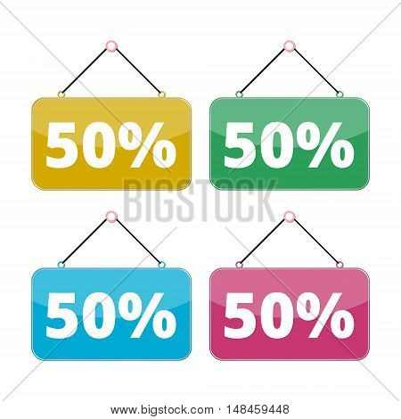 50 percent sale icon set, Discount 50%, four color