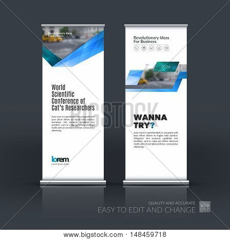 Vector set of modern roll up banner stand design with blue green triangles, arrow, ribbon with overlap effect for business with construction and industrial concept. Corporate vector vertical flyer.