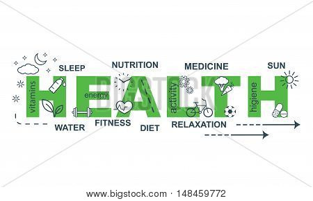 HEALTH concept. Thin line flat design banner for website and mobile website, easy to use and highly customizable.