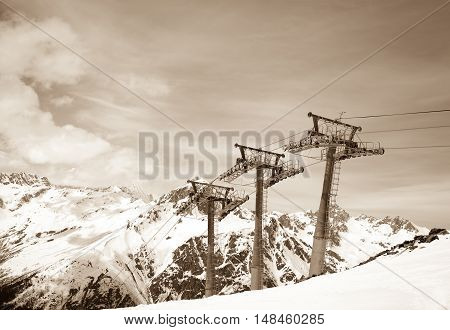 Ropeway At Winter Ski Resort