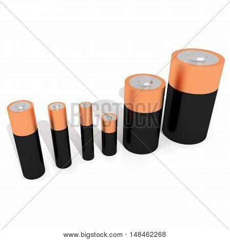 batteries all sizes 3d renderer illustration isolated on white background