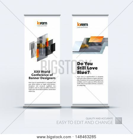 Vector set of modern roll up banner stand design with yellow grey triangles, arrow, ribbon with overlap effect for business with construction and industrial concept. Corporate vector vertical flyer.