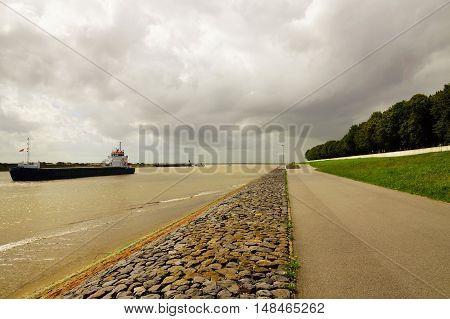 Ship in the Kiel canal in summer