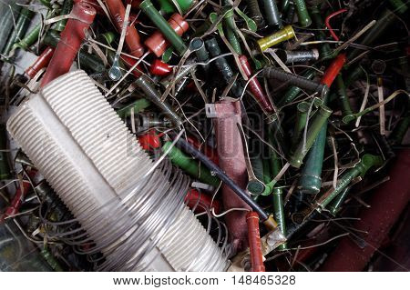 very much scattered old high power resistors