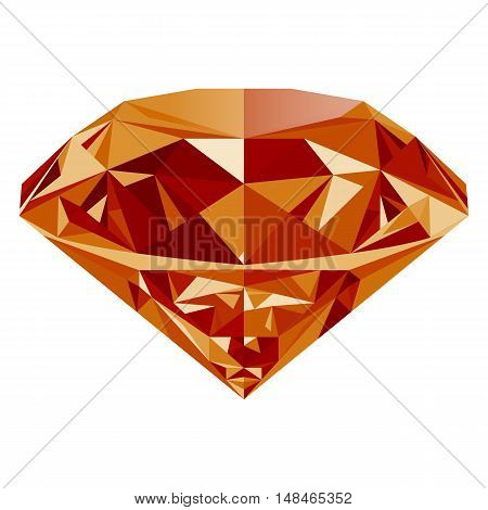 Realistic shining orange topaz jewel isolated on white background. Colorful gemstone that can be used as part of logo icon web decor or other design.