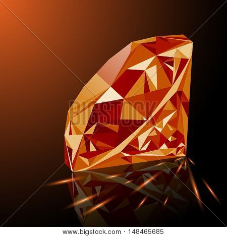 Realistic shining orange topaz jewel with reflection orange glow and light sparks on gradient background. Colorful gemstone that can be used as part of logo icon web decor or other design.