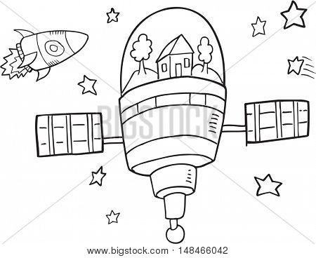 Doodle Space Station Vector Illustration Art
