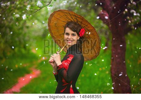 Woman Smiles And Happy