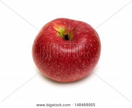 Big ripe red apple isolated on white background closeup
