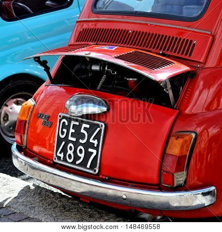 Genova, Liguria, Italy - September 18, 2016: Oktoberfest in Victory Square in Genoa, the first edition of motorsport meeting HBier static rally dedicated to Vespas, Lambrettas and Fiat 500. The models - each engine capacity and age
