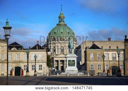 Frederik's Church (Danish: Frederiks Kirke) and Sculpture of Frederik V on Horseback in Amalienborg Square in Copenhagen Denmark poster
