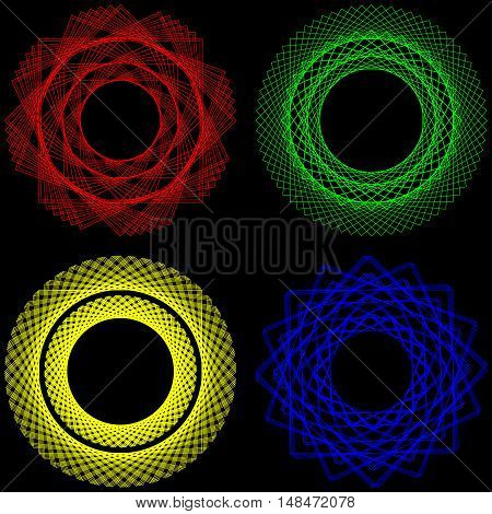 Spirographs and guilloches in different colors. Blue red yellow green ornaments on a black background.