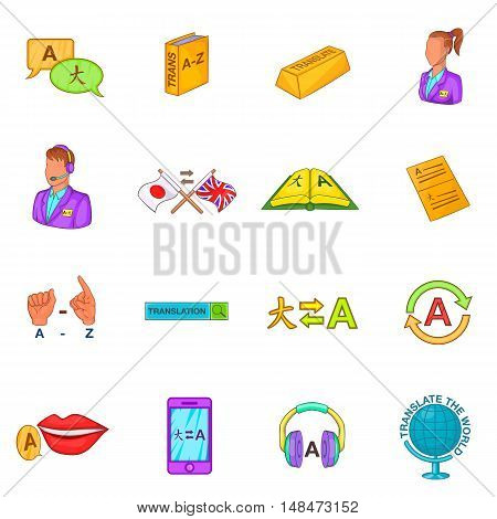 Translator icons set in cartoon style. Language interpreter set collection vector illustration