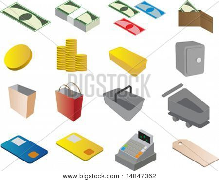 Shopping and commerce clipart icons, vector illustrations