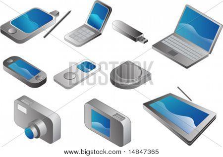 Aparatos electrónicos, vector clipart isométrica estilo: pda no teléfono, teléfono móvil de la cubierta, pendrive usb,