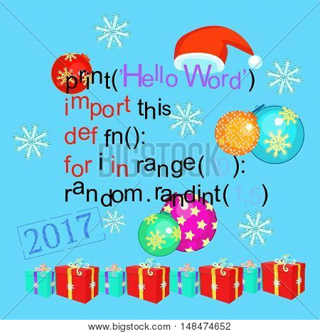Christmas Greeting Card Programming Code On A Blue Background. Vector Illustration