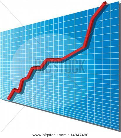 Linechart going up, isometric 3d vector illustration