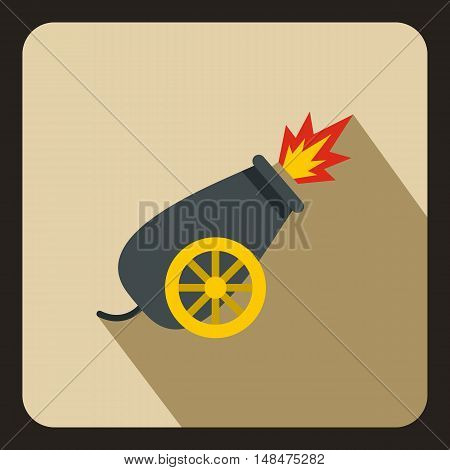 Circus cannon icon in flat style on a beige background vector illustration