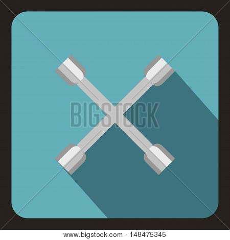 Wheel wrench cross icon in flat style on a baby blue background vector illustration