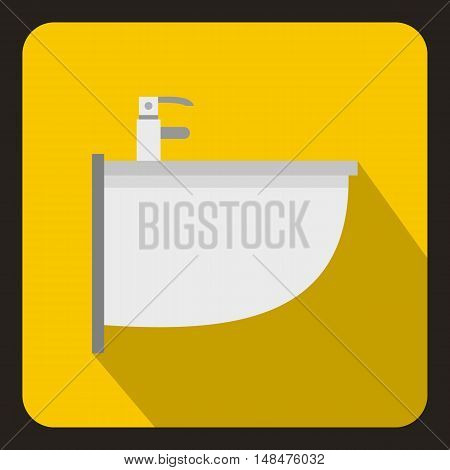 Bidet icon in flat style on a yellow background vector illustration