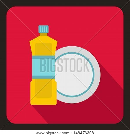Bottle of dish soap and clean dish icon in flat style on a crimson background vector illustration