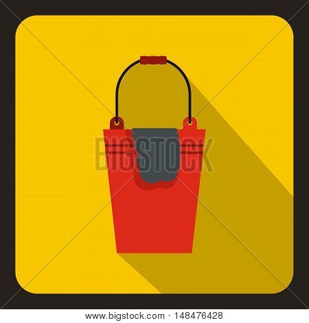 Red bucket and rag icon in flat style on a yellow background vector illustration