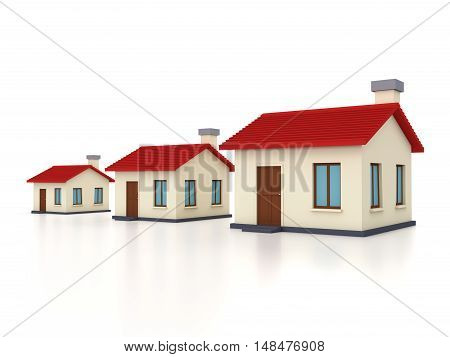 Home Models Isolated on White - 3D Rendering Image
