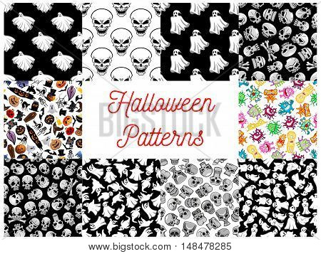 Halloween seamless pattern backgrounds with cartoon scary characters and elements. Wallpaper icons of ghost, skull, bat, spider, cemetery, monster, phantom, grave, candle, skeleton, coffin, witch, tomb devil crossbones pumpkin black cat