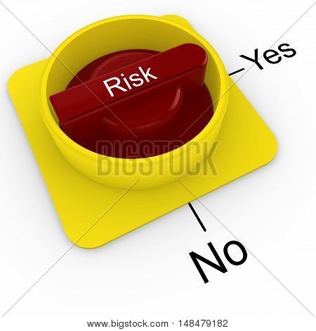 3D illustration of a rotary knob isolated on white with a yes to no scale risk management concept