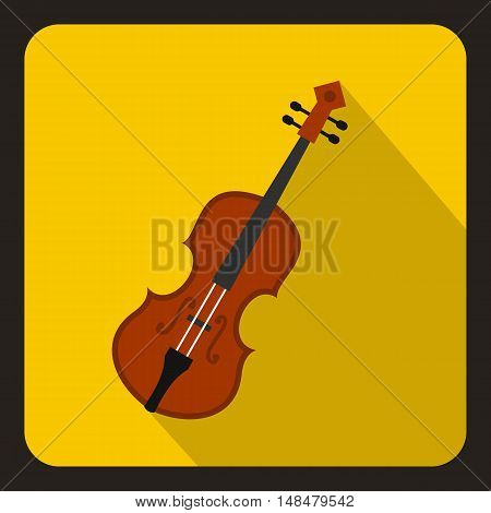 Cello icon in flat style with long shadow. Musical instrument symbol vector illustration