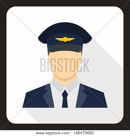 Pilot icon in flat style with long shadow. People symbol vector illustration