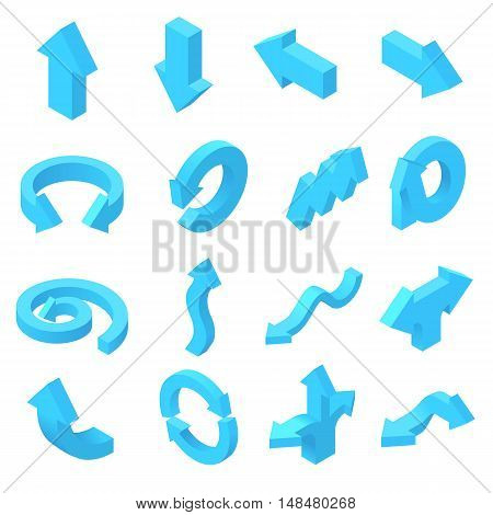 Arrows icons set in isometric 3d style. Blue pointers set collection vector illustration