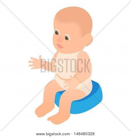 Boy sitting on the potty icon in cartoon style isolated on white background vector illustration