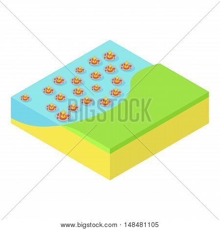 Loi Krathong festival in Thailand icon in cartoon style isolated on white background. Religion symbol vector illustration