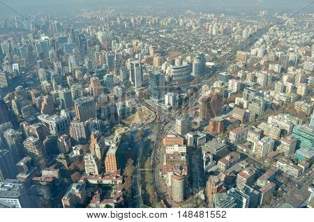 Aerial view of Santiago from Costanera Center