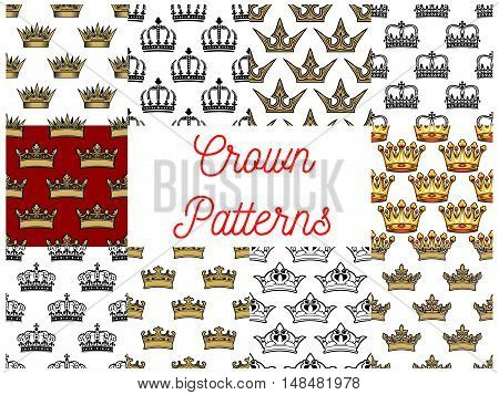Crowns seamless patterns. Backgrounds with vector icons of golden crown. Royal, artistic, heraldic, imperial, vintage, retro, monarch regal symbols