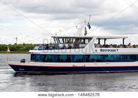 Rostock, Germany - August 22, 2016 Excursion boat Rostocker 7 Rostock Warnow