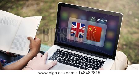 English Chinese Languages Translation Application Concept