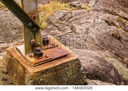 old big rusty bolts in a abandoned old construction