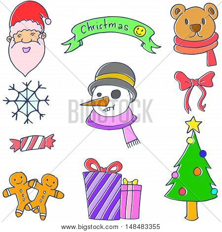 Doodle of christmas set vector art collection stock