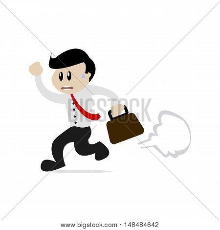 Flat Cartoon Male Worker Late to Work